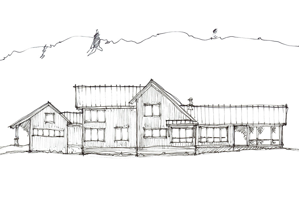 sketch of west elevation