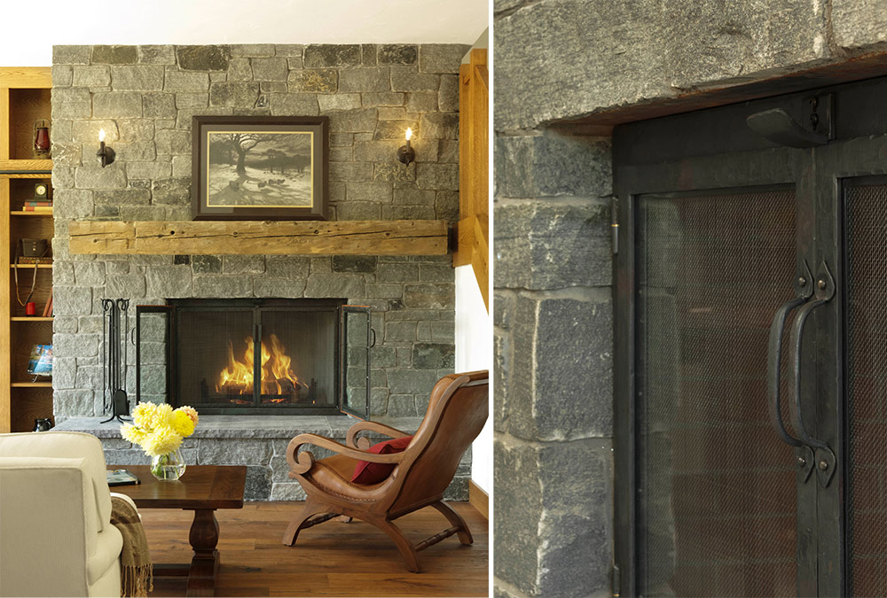 picture of the large stone fireplace