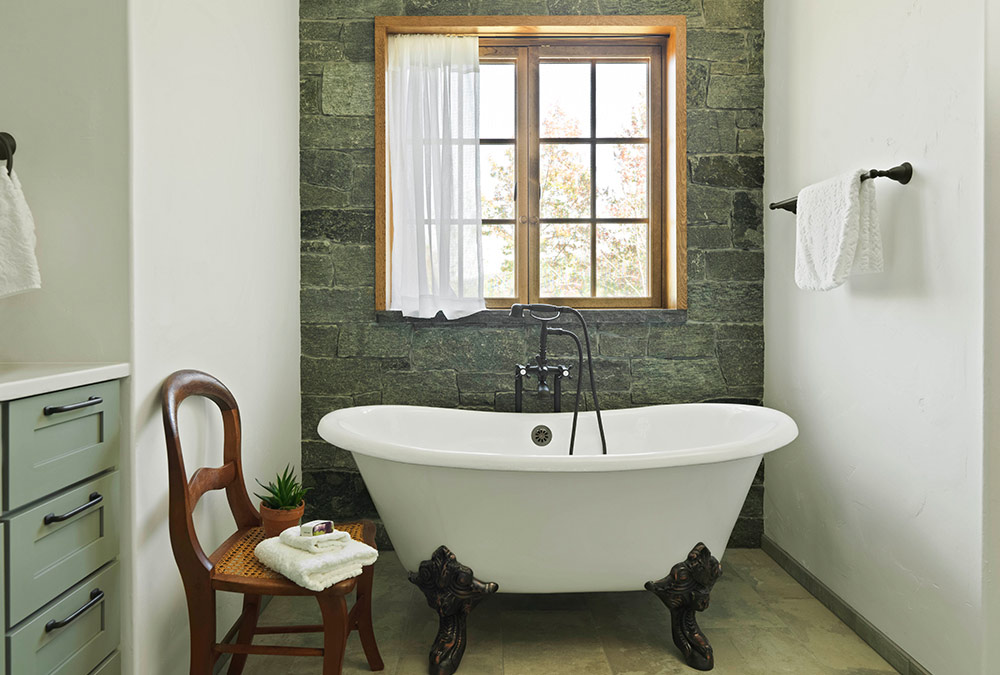 large clawfoot tub in the bathroom