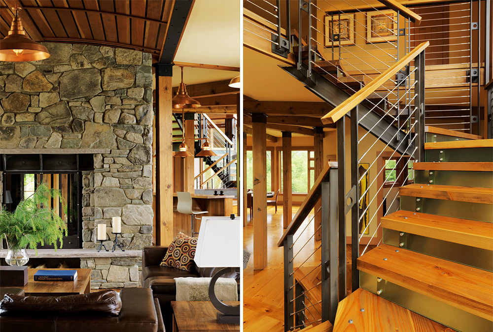 living area and stairs