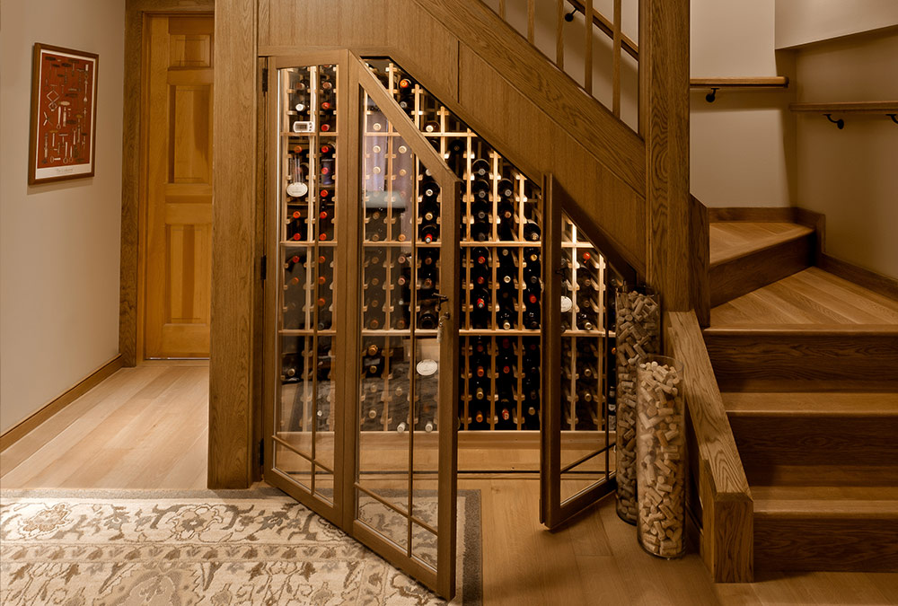 custom wooden wine cellar open