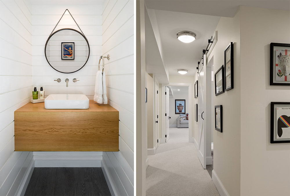 small bathroom and picture of hallway